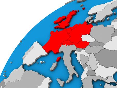 Western Europe on 3D globe. 3D illustration. Banco de Imagens