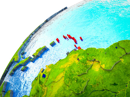 Caribbean on 3D Earth model with visible country borders. 3D illustration.