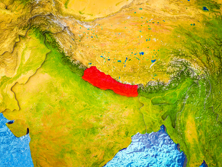 Nepal on model of 3D Earth with blue oceans and divided countries. 3D illustration.