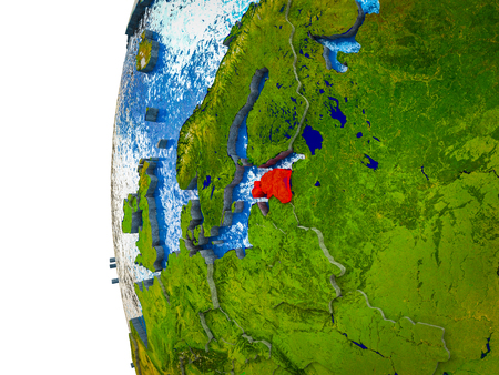 Estonia highlighted on 3D Earth with visible countries and watery oceans. 3D illustration.