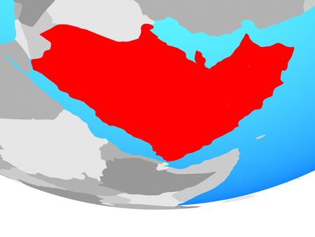 Arabia on simple political globe. 3D illustration.