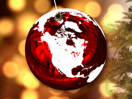 North America on red shiny Chrismas ball with candle lights blurred in the background. 3D illustration.