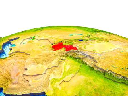 Tajikistan on 3D Earth with visible countries and blue oceans with waves. 3D illustration. Stock Photo