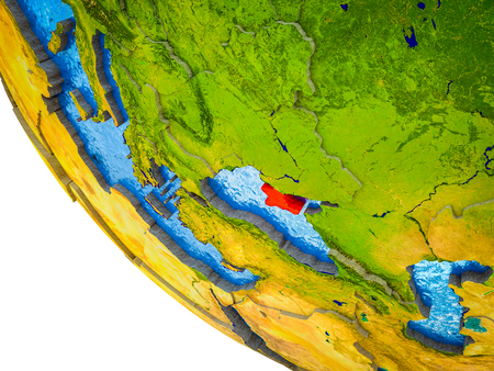 Crimea on model of Earth with country borders and blue oceans with waves. 3D illustration.