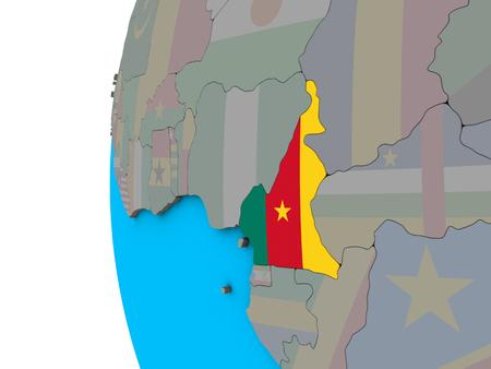 Cameroon with national flag on blue political 3D globe. 3D illustration.