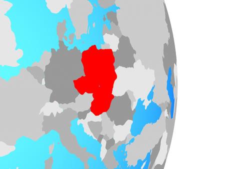 Visegrad Group on simple political globe. 3D illustration. Stok Fotoğraf