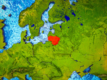 Lithuania on model of 3D Earth with blue oceans and divided countries. 3D illustration.