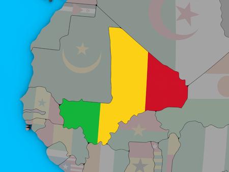 Mali with embedded national flag on blue political 3D globe. 3D illustration.