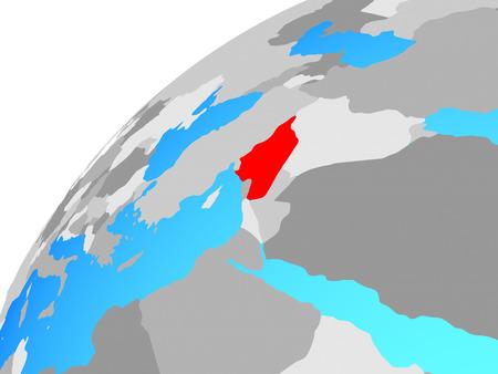 Syria on globe. 3D illustration.