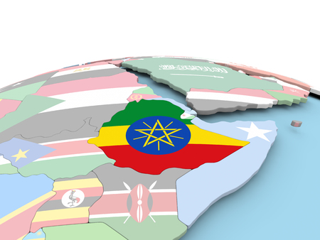 Ethiopia on political globe with embedded flags. 3D illustration.
