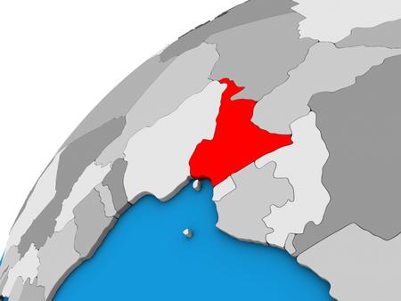 Cameroon on 3D globe. 3D illustration.