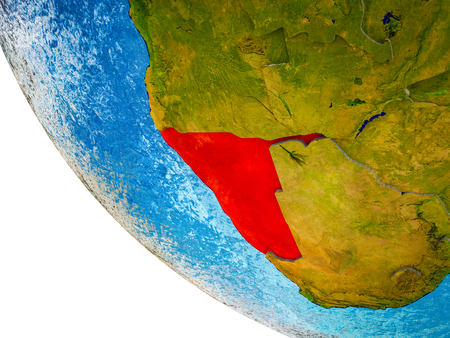 Namibia on model of Earth with country borders and blue oceans with waves. 3D illustration.