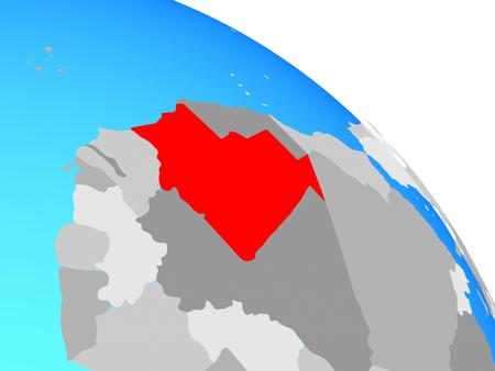Mauritania on simple blue political globe. 3D illustration. Фото со стока
