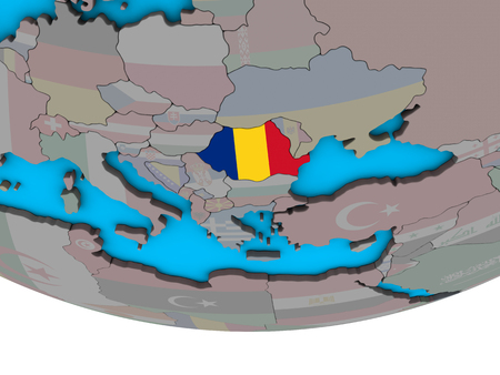 Romania with embedded national flag on simple political 3D globe. 3D illustration. Banque d'images - 110396401