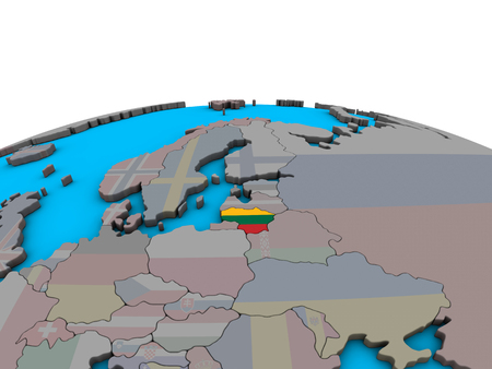 Lithuania with embedded national flag on political 3D globe. 3D illustration.