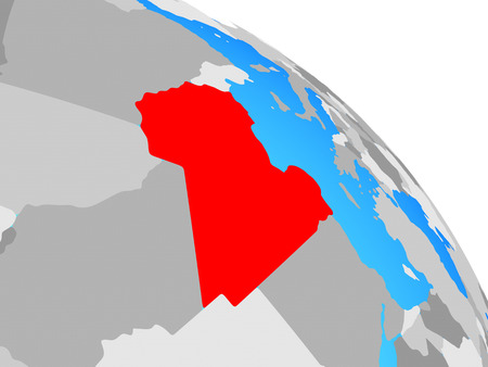 Libya on simple blue political globe. 3D illustration. Stockfoto