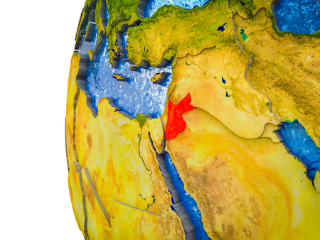 Jordan highlighted on 3D Earth with visible countries and watery oceans. 3D illustration.