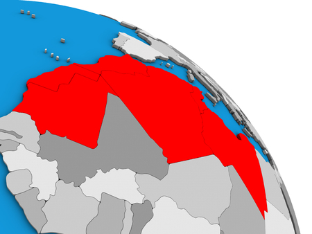 Maghreb region on simple blue political 3D globe. 3D illustration. Stock Photo