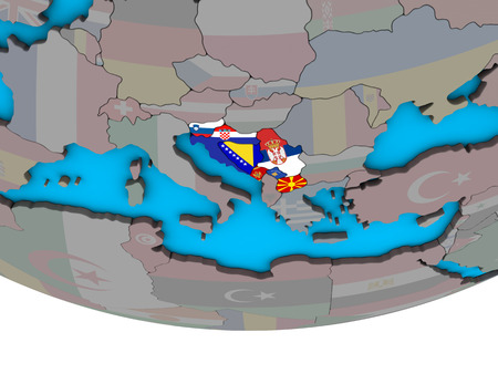 Former Yugoslavia with embedded national flags on simple political 3D globe. 3D illustration.