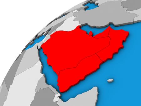 Arabia on 3D globe. 3D illustration.