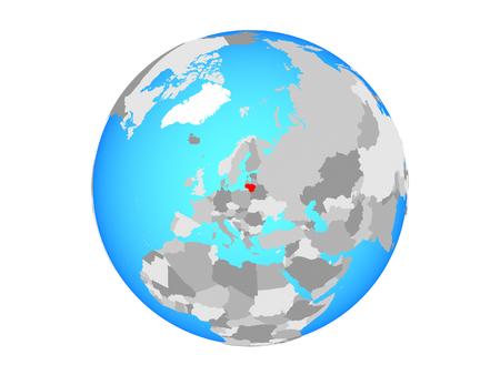 Lithuania on blue political globe. 3D illustration isolated on white background. Stock Photo