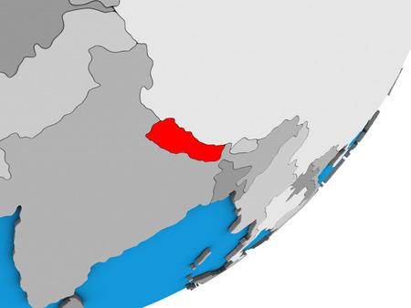 Nepal on blue political 3D globe. 3D illustration. Фото со стока