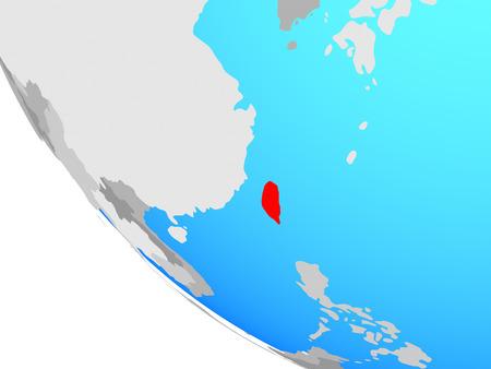 Taiwan on simple globe. 3D illustration.