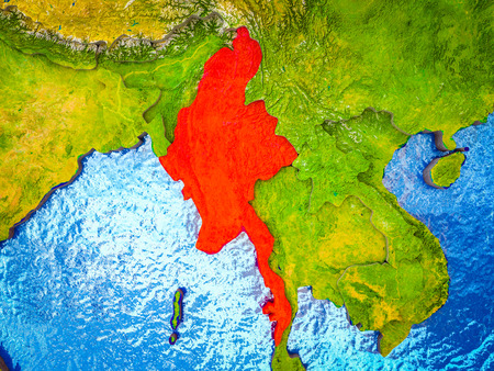 Myanmar on model of 3D Earth with blue oceans and divided countries. 3D illustration. Imagens