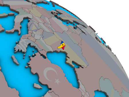 Moldova with embedded national flag on simple blue political 3D globe. 3D illustration. Stock Photo