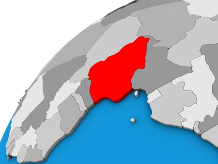 Nigeria on 3D globe. 3D illustration.