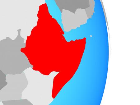 Horn of Africa on simple political globe. 3D illustration. Stockfoto