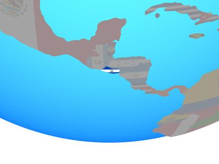 El Salvador with national flag on simple political globe. 3D illustration.