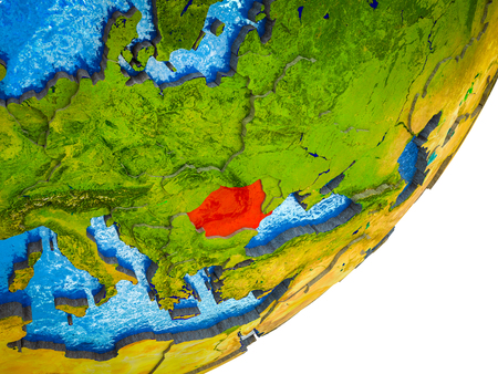 Romania on 3D model of Earth with water and divided countries. 3D illustration.