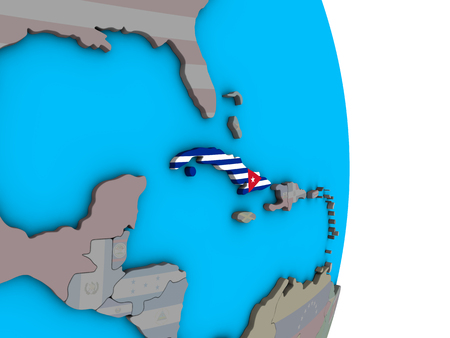 Cuba with embedded national flag on simple political 3D globe. 3D illustration.