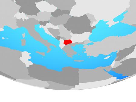 Macedonia on simple political globe. 3D illustration.
