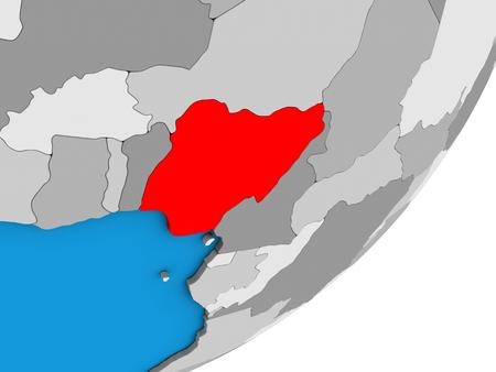 Nigeria on blue political 3D globe. 3D illustration.