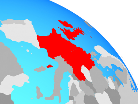 Western Europe on simple blue political globe. 3D illustration.