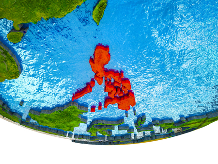 Philippines on 3D Earth with divided countries and watery oceans. 3D illustration.
