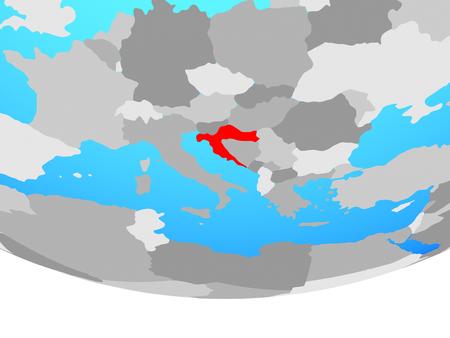Croatia on simple political globe. 3D illustration.
