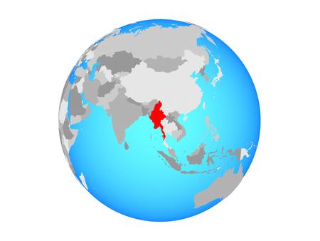 Myanmar on blue political globe. 3D illustration isolated on white background.