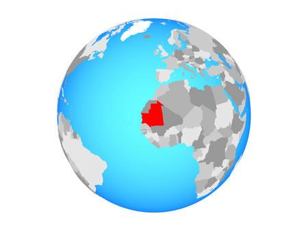 Mauritania on blue political globe. 3D illustration isolated on white background. Stock Photo