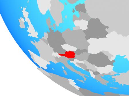 Austria on simple globe. 3D illustration.
