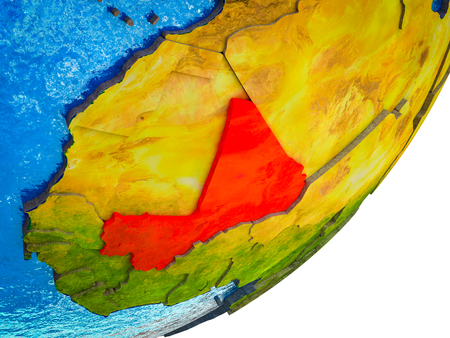 Mali on 3D model of Earth with water and divided countries. 3D illustration. Stock Photo