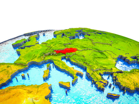 Austria on 3D Earth with visible countries and blue oceans with waves. 3D illustration.