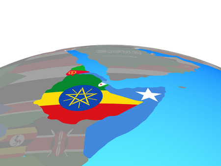 Horn of Africa with national flags on political globe. 3D illustration.