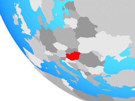 Hungary on simple globe. 3D illustration.