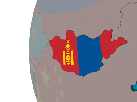 Mongolia with national flag on blue political 3D globe. 3D illustration. Stock Photo
