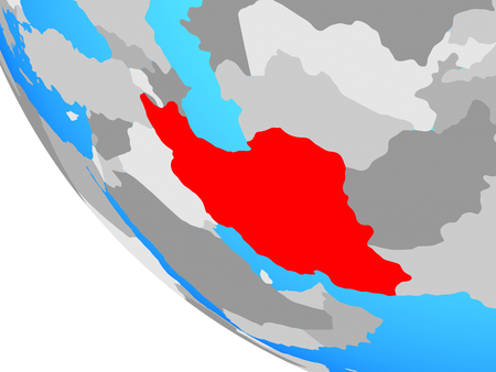 Iran on simple globe. 3D illustration.