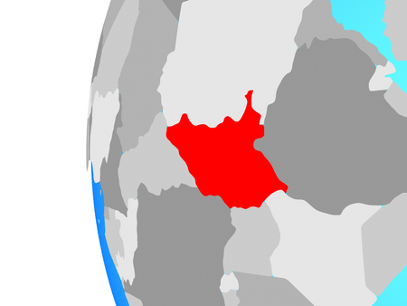 South Sudan on blue political globe. 3D illustration. 스톡 콘텐츠