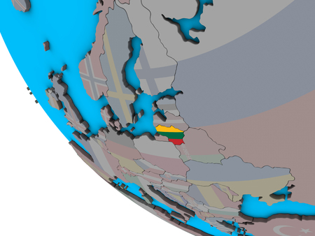 Lithuania with embedded national flag on simple 3D globe. 3D illustration.